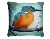 XL Cushion cover for throw pillow with bird - Kingfisher - 24x24nch // 60x60cm