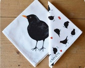Napkin set of 2 with the illustration of the Blackbird