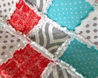 Coral, Grey Dot, Minky Quilted Snuggle Rag Baby Toddler Lap Blanket