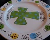 Hand Painted Baby Plate with Cross - Great Baptism Gift