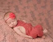 Cable Front Romper - Newborn Photo prop - overalls, romper, pants