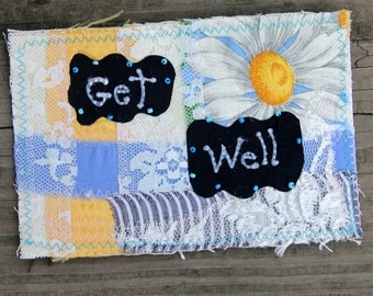 Get Well Fabric Postcard Woven Beaded Lace Yellow Blue Black Daisy Patchwork Stationary