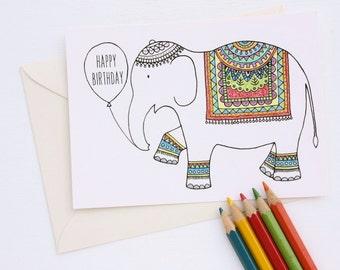 Colouring Card-Tribal Elephant Drawing Birthday Card