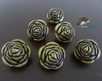Antique Bronze Vintage Big Chunky Flower Beads, 24mm - 8x