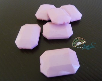 LARGE Faceted Octagon, Rectangle, Acrylic Beads, Opaque, LIGHT PINK Color - 6x