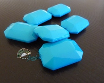 LARGE Faceted Octagon, Rectangle, Acrylic Beads, Opaque, TURQUOISE BLUE Color - 6x