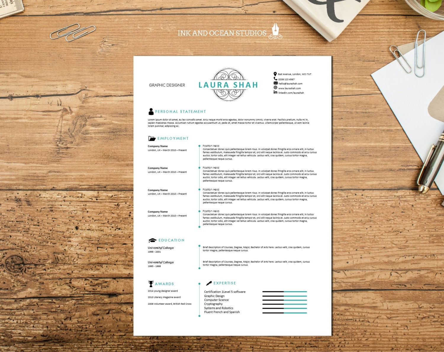 slick elegant resume    cv design with cover letter and