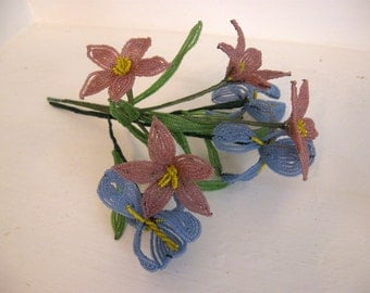 Vintage French Beaded Flowers Pink White and Blue