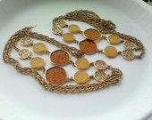 Two Sarah Coventry Amber Lucite and Gold Tone Long Necklaces