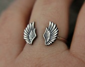 Sterling silver ring - angel wing ring - wing ring - dainty - minimalist - delicate ring - open ring