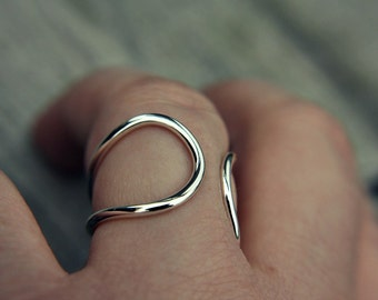 Minimalist ring - sterling silver ring - minimalist - open ring - curves