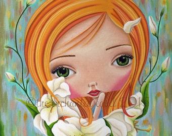 Art Print, Girls Room, Lilies, Ginger, Girls Wall Art, Whimsical, Flowers, Green Eyes