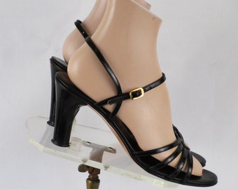 Vintage 1970s - 1980s Black Patent Strappy High Heel Sandals by Amalfi by Rangoni Sz 8 1/2 N