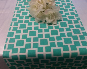 LATTICE TABLE LINENS - Table Runners, Napkins, or placemats, Modern Geometric, lattice, aqua and white, Wedding, Bridal, HOme decor