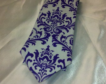 BOWTIE, NECKTIE or POCKET Square- All Szs Madison Purple white Damask Tie boys men tall ringbearer wedding bridal pre-tied double bow