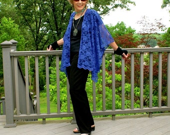 Ultra Blue Lace Ruana, Shawl, Caftan, Shrug or  Beach Coverup--One Size Fits Most Petites