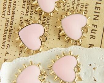 5 pcs Spiky Gold Heart Charm (17mm18mm) baby pink AZ106