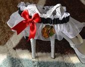 Wedding Keepsake Garter white Handmade with Chicago Blackhawks fabric