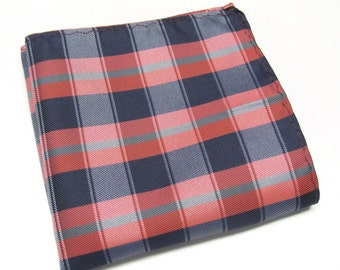 Pocket Square Navy Blue Red Gray Plaid Hanky