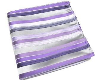 Pocket Square Silver Gray Purple Lavender Lilac Stripes Hanky