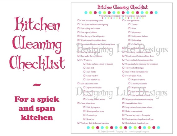 Beau Kitchen Cleaning Checklist   PDF Printable   Home Management Sheet
