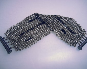 Steel/Chrome Handstitched Seed Bead & Crystal Bracelet Cuff
