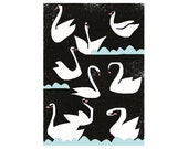 SUMMER SALE! Extra large poster Night swans