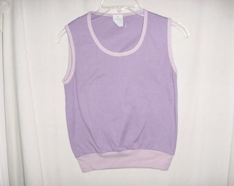 Vintage 70s Girls Lavender Poly Knit Sleeveless Top bch