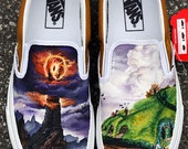 MADE TO ORDER (Any Size) Original Hand Painted Lord of the Rings Shire Mordor Shoes
