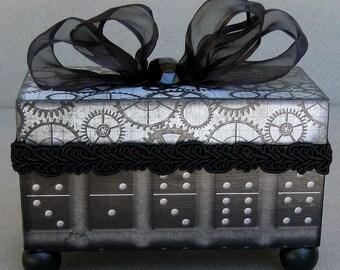 Steampunk Gears Domino Decorative Trinket Keepsake Box