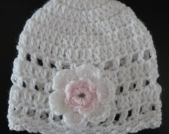 Crochet Newborn Baby Infant Girl Hat Knit Preemie Cap with Flower Handmade Acrylic Baby Beanie Reborn Doll Bonnet Baptism Baby Photo Prop