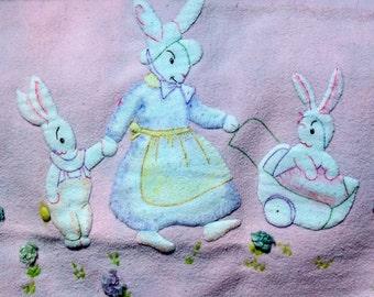 Vintage Baby Blanket Crib Cover Appliqued Bunnies Lavender