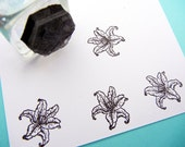 Tiny Lily Flower Rubber Stamp for labels, stickers, wedding invitations, envelope seals  - Handmade by BlossomStamps