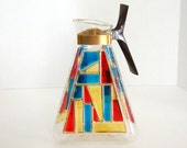 Vintage Inland Glass Triangle Carafe Mid Century Mod Stained Glass Primary Colors