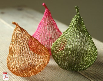 Autumn trends Wire crochet PDF pattern unique wire pears home decoration unique DIY project wire sculpture tutorial