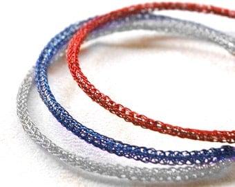Memorial day, 4th of July - BOHO Bangle bracelets, stackable bracelets, wire crochet jewelry, handmade boho fashion