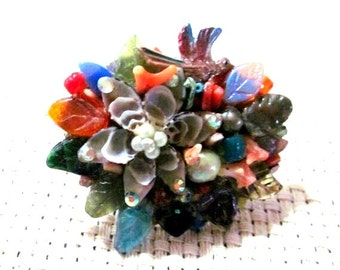 Multicolored Collage Pin with Shell, Gemstones, and Found Items