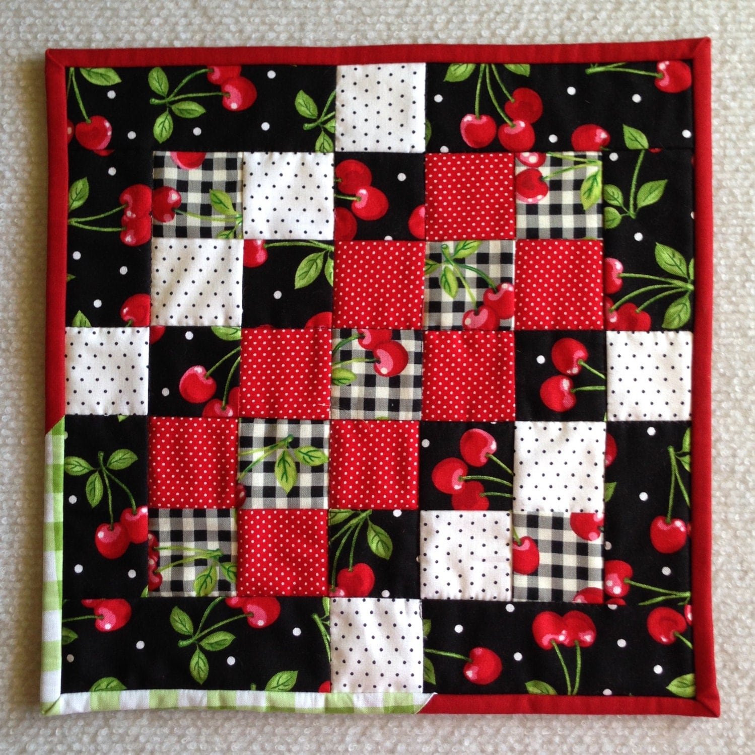 Cherry Mug Rug Mini Patchwork Quilt Black White With Red