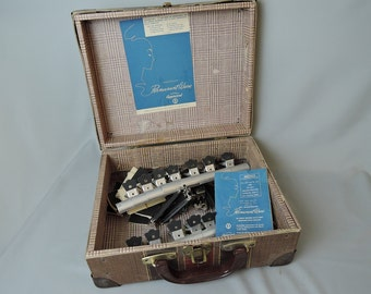 Vintage Hair Home Permanent Wave Kit in Original Suitcase, 1940s 1950s, Vintage Hair Styling, Rods, Clamps, Spacers