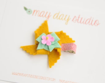 baby toddler girls felt pinwheel alligator hair clip - mustard pinwheel with mint bow barrette - pink glitter clip