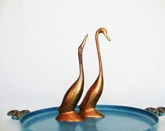 vintage birds brass and copper  metal mid century