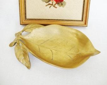 vintage brass leaf dish metal bowl
