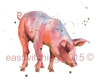 Watercolor PIGLET print, pig painting, farmyard animals, cute animal art, nursery animal art, watercolor, 8x10 print