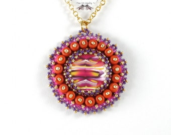 Ripples Pendant Necklace, Polymer Clay, Bead Embroidery