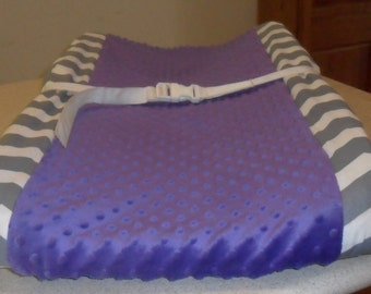 Gray Chevron and Purple Minky Dot Changing Pad Cover