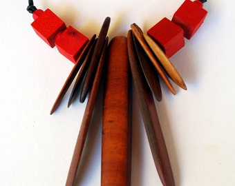 Recycled Australian Wood and Red wooden bead necklace by Mainichi