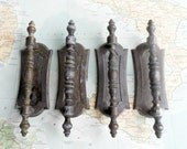 SALE! 4 slim vintage distressed brass metal handles w/ trimplates
