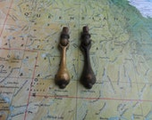 SALE! 2 small worn vintage two-tone brass metal drop pulls