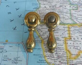 SALE! 2 small vintage distressed brass metal drop pulls