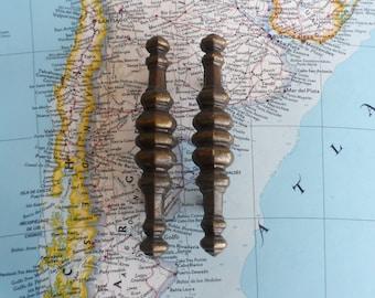 SALE! 2 slim dark brass metal handles